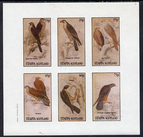 Staffa 1982 Birds of Prey #10 (Sparrow Hawk, Falcons etc) imperf set of 6 values (15p to 75p) unmounted mint