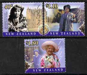 New Zealand 2000 Queen Mother's 100th Birthday perf set of 3 unmounted mint SG 2343-45