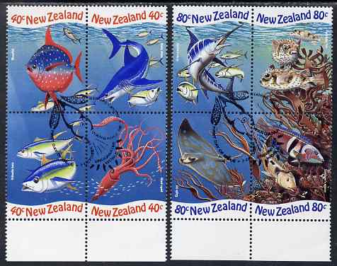 New Zealand 1998 International Year of the Ocean perf set of 8 (2 se-tenant blocks of 4) fine used SG 2206-13