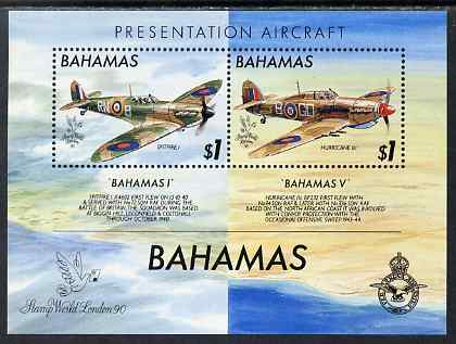 Bahamas 1990 Stamp World 90 - Presentation Spitfires perf m/sheet unmounted mint, SG MS 876