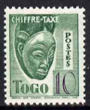 Togo 1940 Postage Due 10c Native Mask unmounted mint unissued without RF similar to SG D152