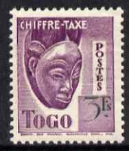 Togo 1940 Postage Due 3f Native Mask unmounted mint, unissued without RF similar to SG D160