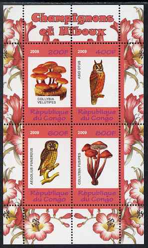 Congo 2009 Fungi & Owls #2 perf sheetlet containing 4 values unmounted mint
