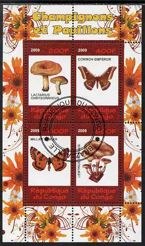Congo 2009 Fungi & Butterflies #1 perf sheetlet containing 4 values cto used
