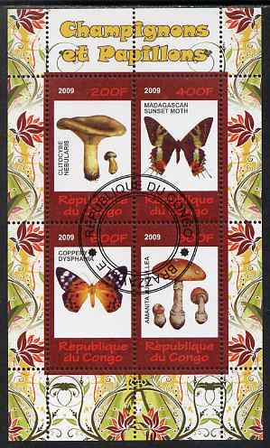 Congo 2009 Fungi & Butterflies #2 perf sheetlet containing 4 values cto used