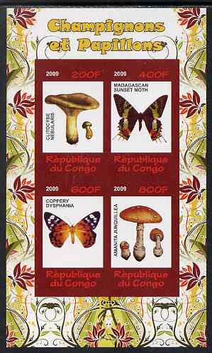 Congo 2009 Fungi & Butterflies #2 imperf sheetlet containing 4 values unmounted mint