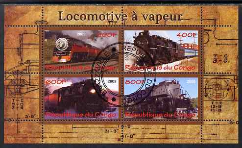 Congo 2009 Steam Locomotives #1 perf sheetlet containing 4 values cto used