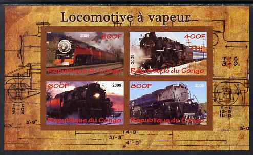 Congo 2009 Steam Locomotives #1 imperf sheetlet containing 4 values unmounted mint