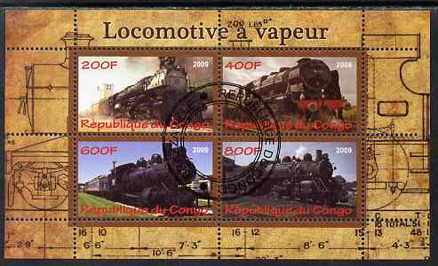 Congo 2009 Steam Locomotives #2 perf sheetlet containing 4 values cto used