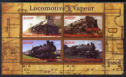 Congo 2009 Steam Locomotives #2 perf sheetlet containing 4 values unmounted mint