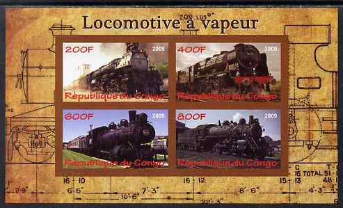 Congo 2009 Steam Locomotives #2 imperf sheetlet containing 4 values unmounted mint