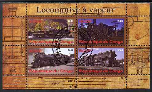 Congo 2009 Steam Locomotives #3 perf sheetlet containing 4 values cto used