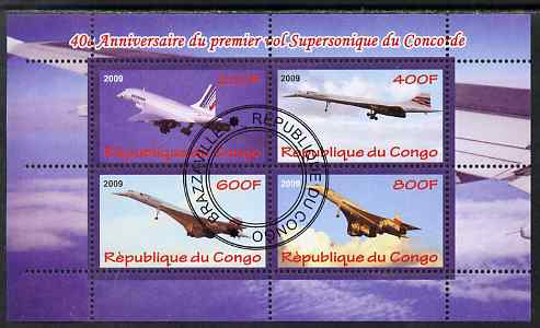 Congo 2009 40th Anniversary of First Concorde Flight perf sheetlet containing 4 values cto used
