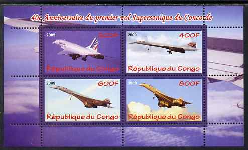 Congo 2009 40th Anniversary of First Concorde Flight perf sheetlet containing 4 values unmounted mint