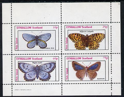 Eynhallow 1982 Butterflies (Polyommatus Acis) perf  set of 4 values (10p to 75p) unmounted mint