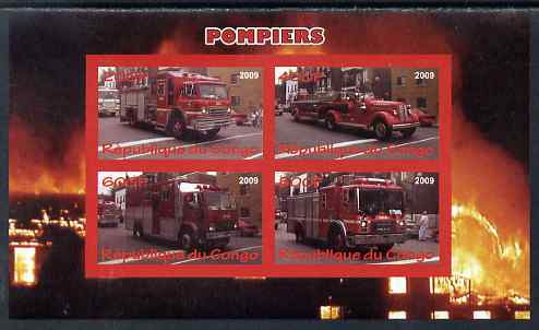 Congo 2009 Fire Engines imperf sheetlet containing 4 values unmounted mint