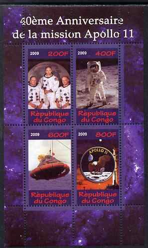 Congo 2009 40th Anniversary of Apollo 11 perf sheetlet containing 4 values unmounted mint