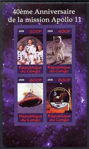 Congo 2009 40th Anniversary of Apollo 11 imperf sheetlet containing 4 values unmounted mint
