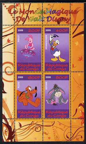 Congo 2009 The Magical World of Walt Disney #1 perf sheetlet containing 4 values unmounted mint