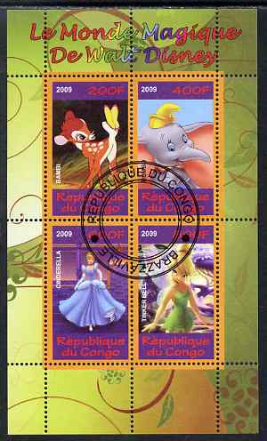 Congo 2009 The Magical World of Walt Disney #3 perf sheetlet containing 4 values cto used