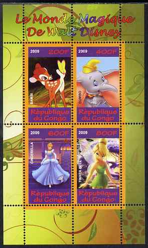 Congo 2009 The Magical World of Walt Disney #3 perf sheetlet containing 4 values unmounted mint