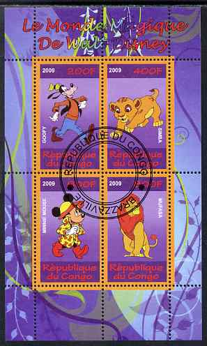 Congo 2009 The Magical World of Walt Disney #4 perf sheetlet containing 4 values cto used