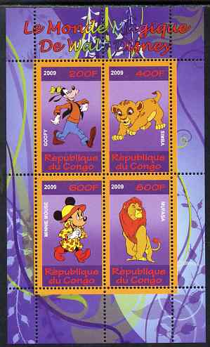 Congo 2009 The Magical World of Walt Disney #4 perf sheetlet containing 4 values unmounted mint