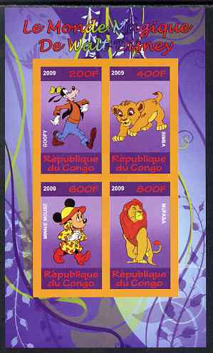 Congo 2009 The Magical World of Walt Disney #4 imperf sheetlet containing 4 values unmounted mint