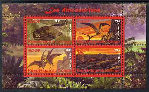 Congo 2009 Dinosaurs #1 perf sheetlet containing 4 values unmounted mint