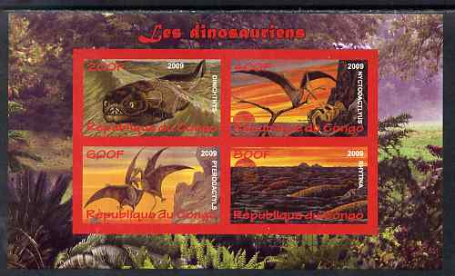 Congo 2009 Dinosaurs #1 imperf sheetlet containing 4 values unmounted mint