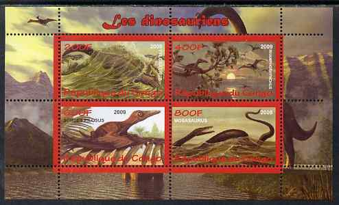 Congo 2009 Dinosaurs #2 perf sheetlet containing 4 values unmounted mint