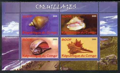 Congo 2009 Shells perf sheetlet containing 4 values unmounted mint