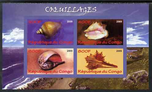 Congo 2009 Shells imperf sheetlet containing 4 values unmounted mint