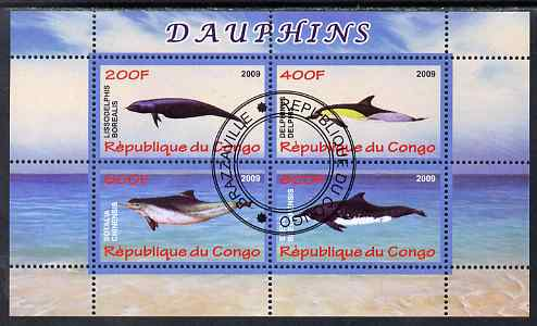 Congo 2009 Dolphins perf sheetlet containing 4 values cto used