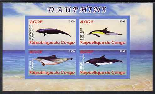 Congo 2009 Dolphins imperf sheetlet containing 4 values unmounted mint