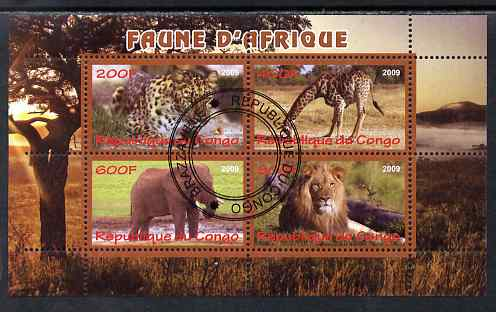 Congo 2009 African Animals perf sheetlet containing 4 values cto used