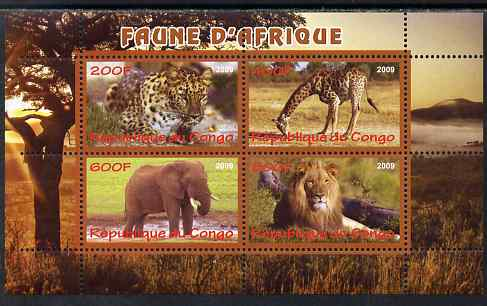Congo 2009 African Animals perf sheetlet containing 4 values unmounted mint
