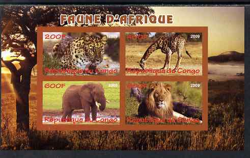 Congo 2009 African Animals imperf sheetlet containing 4 values unmounted mint