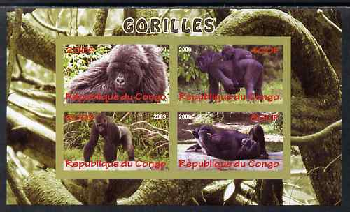 Congo 2009 Gorillas imperf sheetlet containing 4 values unmounted mint