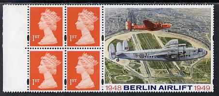 Booklet Pane - Great Britain 1999 Booklet pane containg 4 x first class stamps plus label for Berlin Airlift unmounted mint, SG 1667m