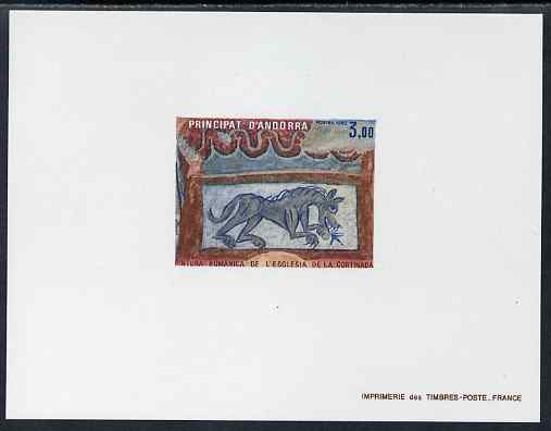 Andorra - French 1982 Romanesque Art 3f Epreuves de luxe card in issued colours as SG F324