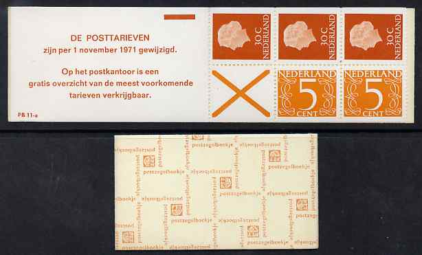 Booklet - Netherlands 1971 Numeral & Juliana 1g booklet complete and fine SG SB71