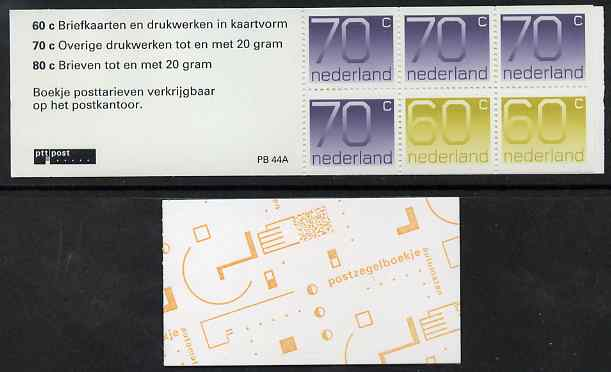 Booklet - Netherlands 1991 Numerals 4g booklet complete and fine SG SB104