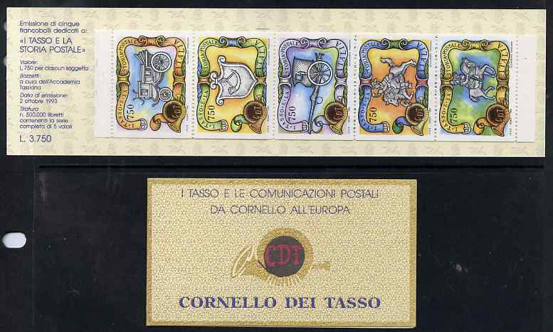 Booklet - Italy 1993 The Taxis Family in Postal History 3,750L booklet complete and fine SG SB9