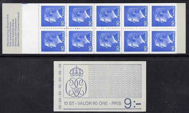 Booklet - Sweden 1975 King Carl XVI Gustav 9k booklet complete and fine, SG SB300
