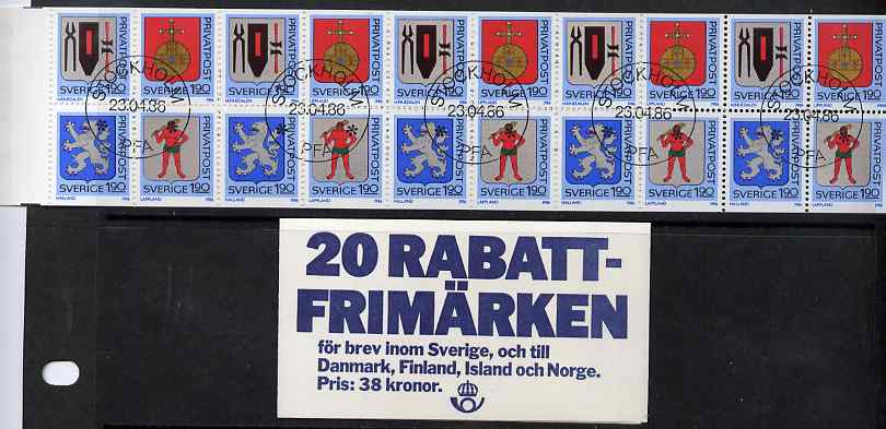 Booklet - Sweden 1986 Rebate Stamps (Arms of Sweden 6th series) 32k booklet complete and fine with cds cancels, SG SB391, stamps on arms, stamps on heraldry, stamps on gold