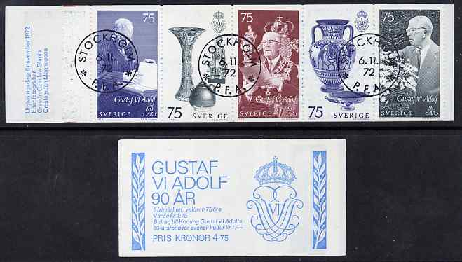 Booklet - Sweden 1972 King's 90th Birthday 4k75 booklet complete and fine with cds cancels, SG SB279
