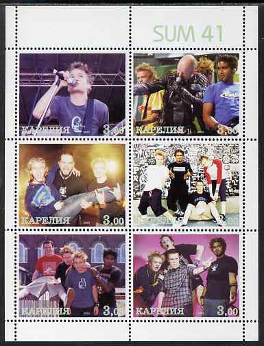 Karjala Republic 2002 Sum 41 (Pop group) perf sheetlet containing 6 values unmounted mint