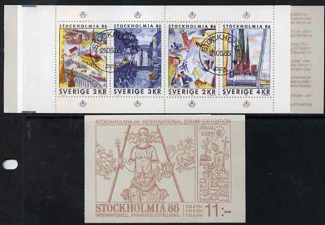 Booklet - Sweden 1985 'Stockholmia 86' Stamp Exhibition 11k booklet complete with first day cancels, SG SB390