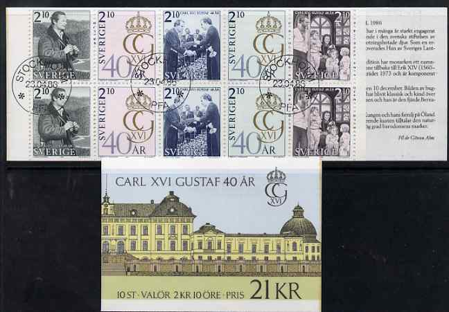 Booklet - Sweden 1966 40th Birthday of King Gustav 21k booklet complete and fine with first day cancels, SG SB144
